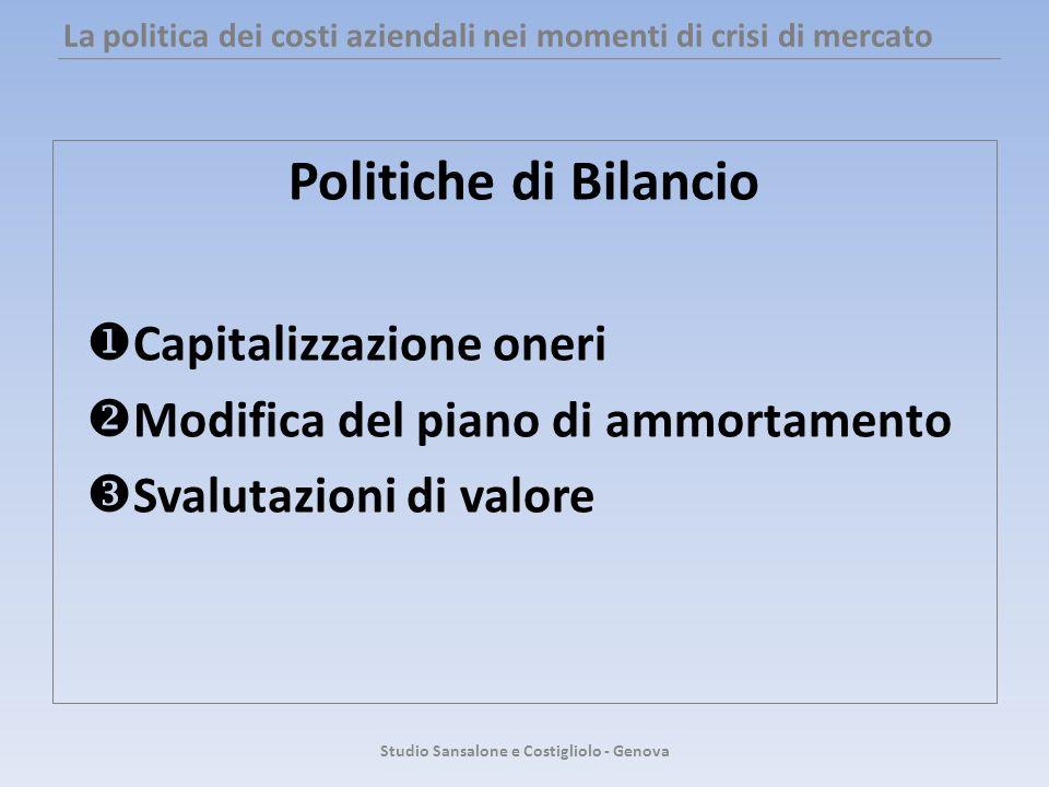 La politica dei costi aziendali nei momenti di crisi di mercato Politiche di Bilancio Capitalizzazione oneri Modifica del piano di ammortamento Svalut