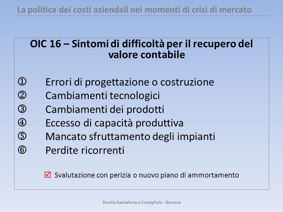 La politica dei costi aziendali nei momenti di crisi di mercato OIC 16 – Sintomi di difficoltà per il recupero del valore contabile Errori di progetta