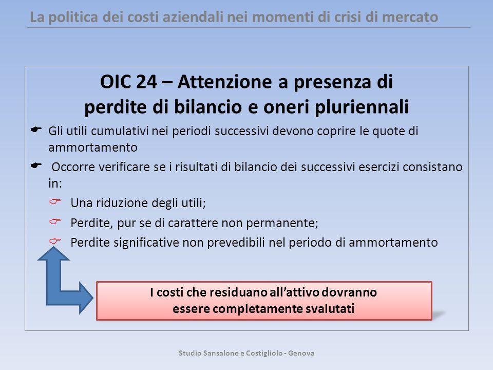 La politica dei costi aziendali nei momenti di crisi di mercato OIC 24 – Attenzione a presenza di perdite di bilancio e oneri pluriennali Gli utili cu