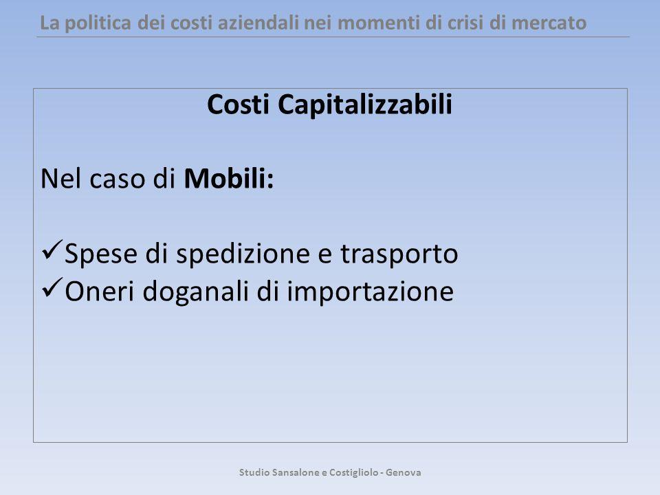 La politica dei costi aziendali nei momenti di crisi di mercato Costi Capitalizzabili Nel caso di Mobili: Spese di spedizione e trasporto Oneri dogana