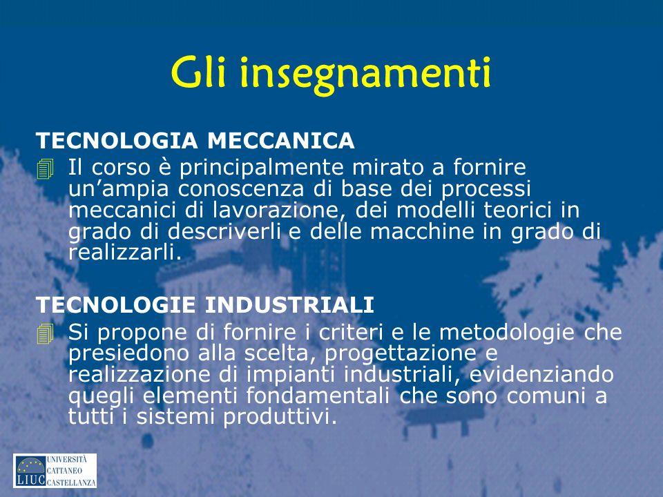 Gli insegnamenti TECNOLOGIA MECCANICA 4Il corso è principalmente mirato a fornire unampia conoscenza di base dei processi meccanici di lavorazione, dei modelli teorici in grado di descriverli e delle macchine in grado di realizzarli.