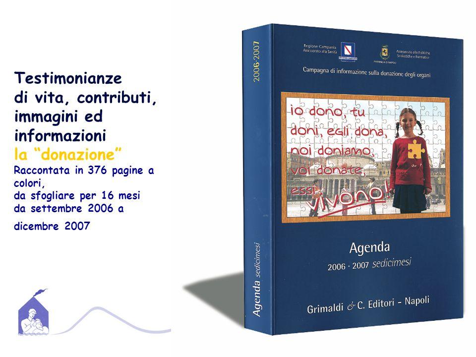 Testimonianze di vita, contributi, immagini ed informazioni la donazione Raccontata in 376 pagine a colori, da sfogliare per 16 mesi da settembre 2006 a dicembre 2007