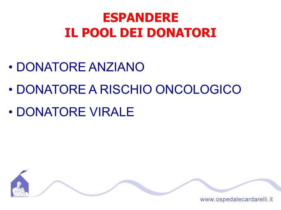 ESPANDERE IL POOL DEI DONATORI DONATORE ANZIANO DONATORE A RISCHIO ONCOLOGICO DONATORE VIRALE