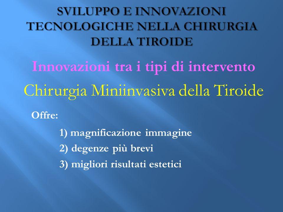 Innovazioni tra i tipi di intervento Chirurgia Miniinvasiva della Tiroide Offre: 1) magnificazione immagine 2) degenze più brevi 3) migliori risultati estetici