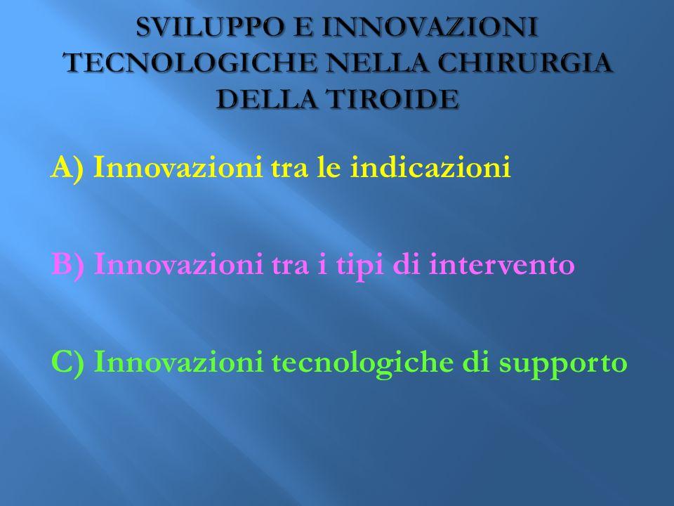 A) Innovazioni tra le indicazioni B) Innovazioni tra i tipi di intervento C) Innovazioni tecnologiche di supporto