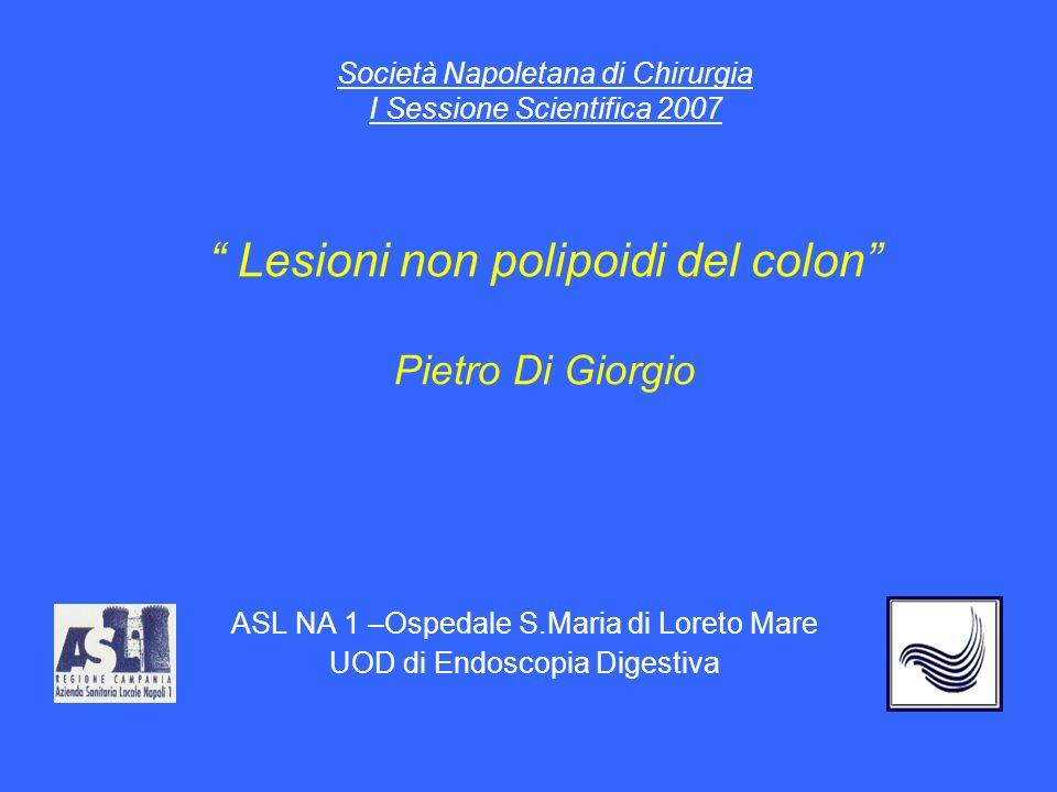 Società Napoletana di Chirurgia I Sessione Scientifica 2007 Lesioni non polipoidi del colon Pietro Di Giorgio ASL NA 1 –Ospedale S.Maria di Loreto Mare UOD di Endoscopia Digestiva
