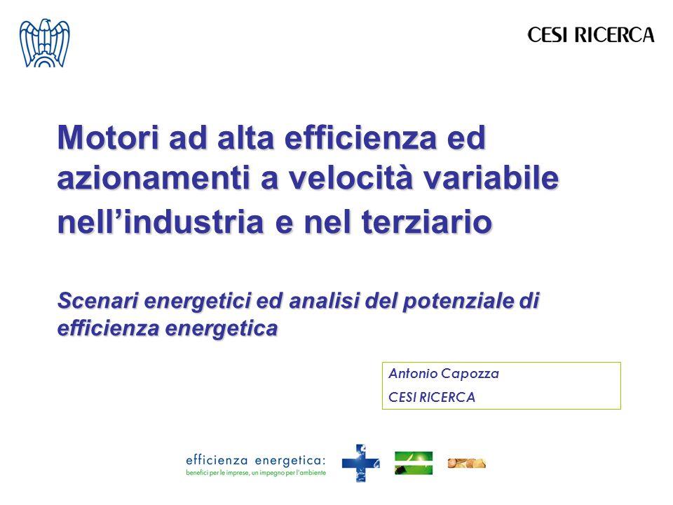 Motori ad alta efficienza ed azionamenti a velocità variabile nellindustria e nel terziario Scenari energetici ed analisi del potenziale di efficienza energetica Antonio Capozza CESI RICERCA