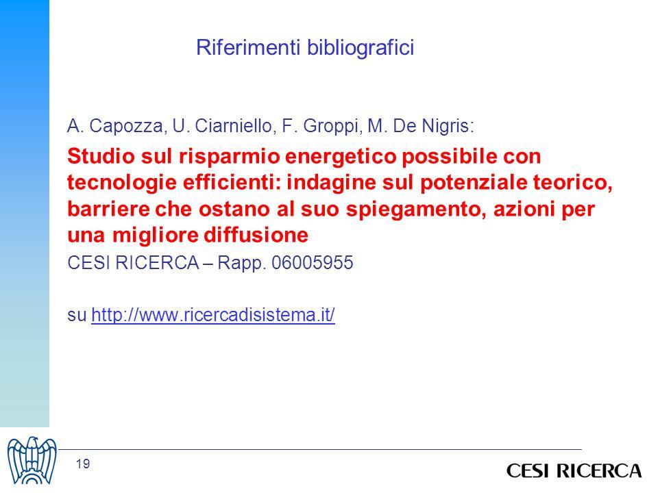 19 Riferimenti bibliografici A. Capozza, U. Ciarniello, F.