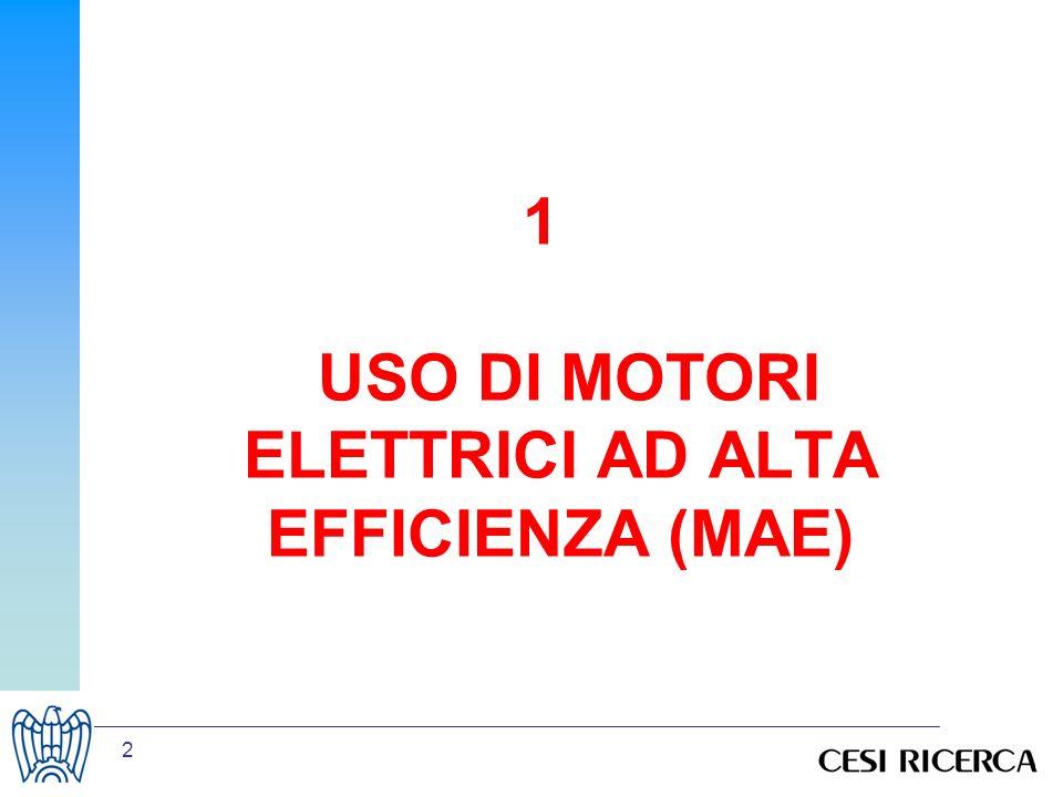 13 Potenziale attuale: scenario a saturazione Stesso sottoinsieme di riferimento motori al 2005: –Azionanti pompe e ventilatori (P&V) –Azionanti compressori (C) –Altro(A) Non si considerano nuove installazioni per i motori Utilizzo dati di progetti EU SAVE: –VSD for Electric Motor Systems (2001) –Improving the penetration of energy-efficient motors and drives (2000) relativi a: Ripartizione motori per applicazione Percentuale ancora inverterizzabile Margini di risparmio energetico