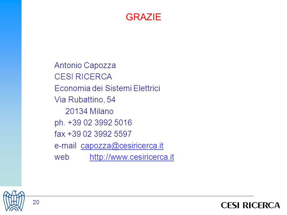 20 GRAZIE Antonio Capozza CESI RICERCA Economia dei Sistemi Elettrici Via Rubattino, 54 20134 Milano ph.