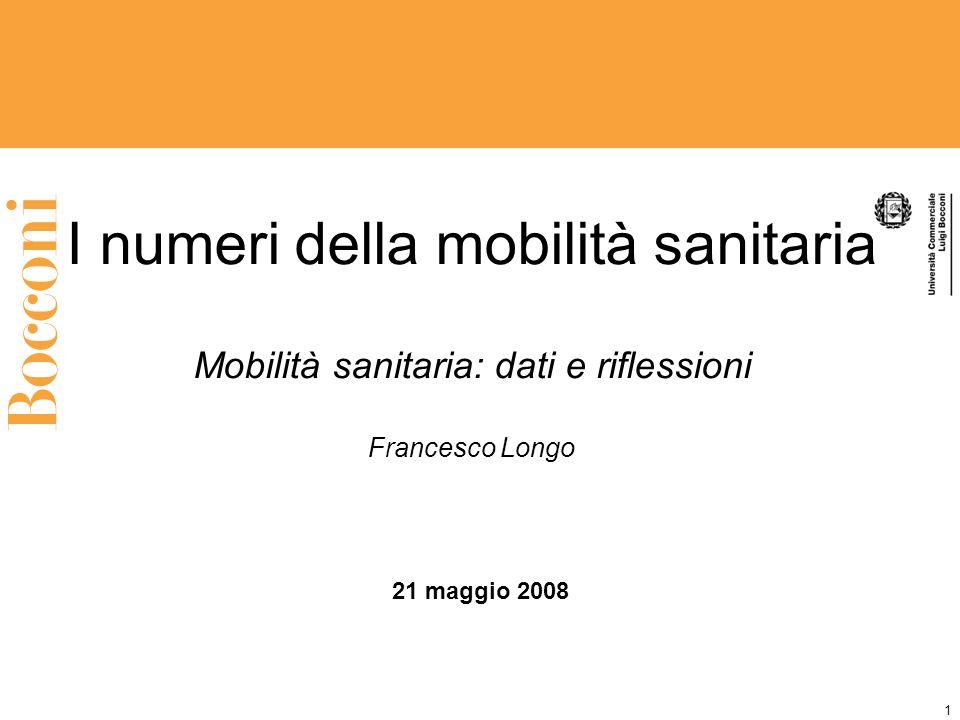 1 I numeri della mobilità sanitaria Mobilità sanitaria: dati e riflessioni Francesco Longo 21 maggio 2008