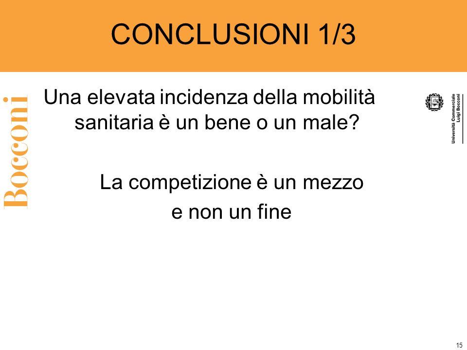 15 CONCLUSIONI 1/3 Una elevata incidenza della mobilità sanitaria è un bene o un male.
