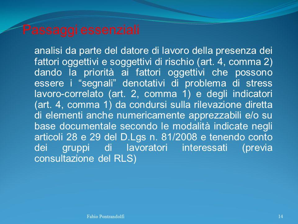 Passaggi essenziali analisi da parte del datore di lavoro della presenza dei fattori oggettivi e soggettivi di rischio (art. 4, comma 2) dando la prio