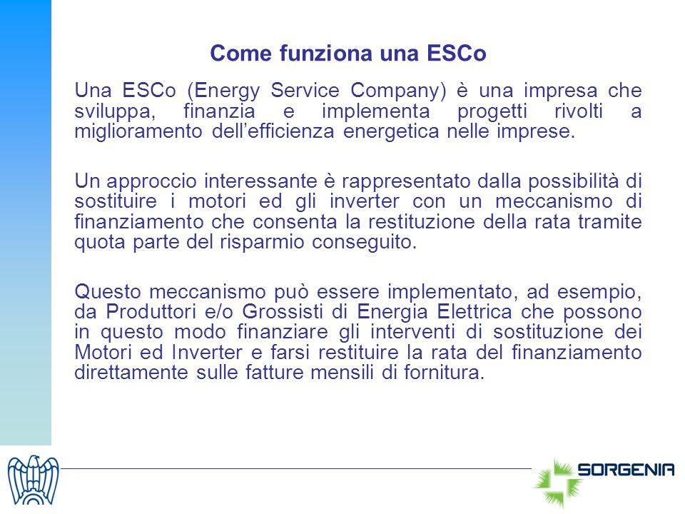 Come funziona una ESCo Una ESCo (Energy Service Company) è una impresa che sviluppa, finanzia e implementa progetti rivolti a miglioramento delleffici