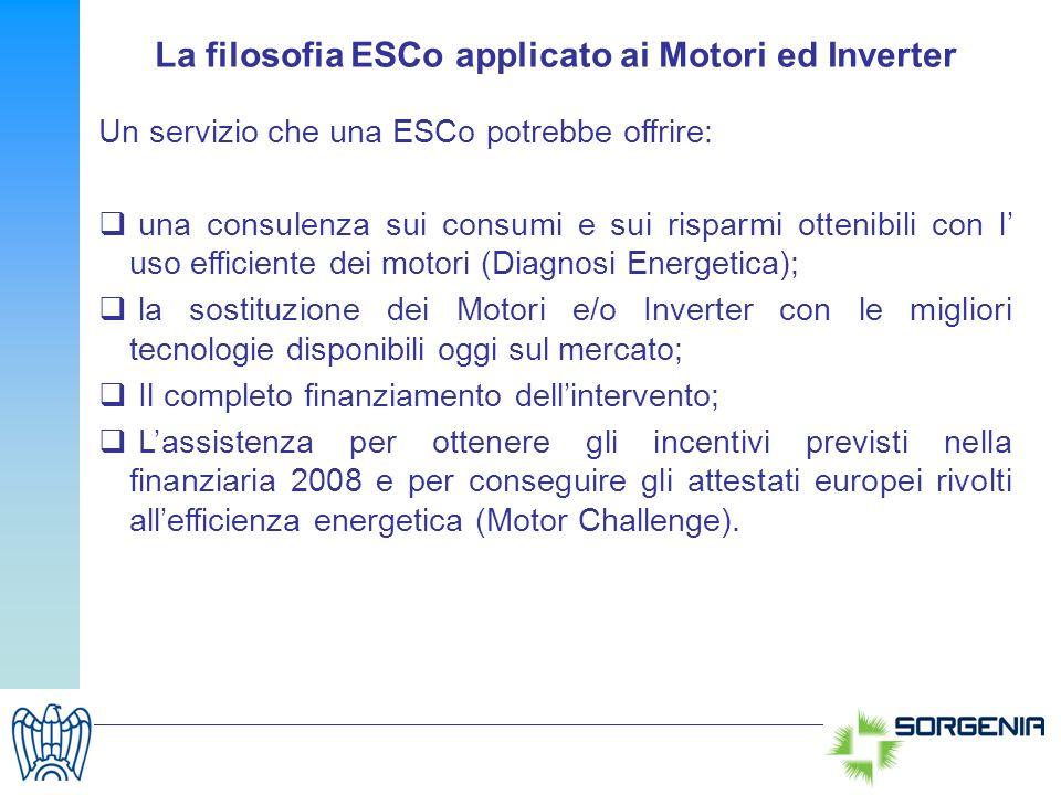 La filosofia ESCo applicato ai Motori ed Inverter Un servizio che una ESCo potrebbe offrire: una consulenza sui consumi e sui risparmi ottenibili con