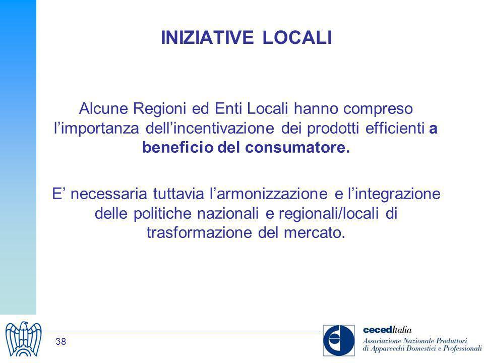 38 INIZIATIVE LOCALI Alcune Regioni ed Enti Locali hanno compreso limportanza dellincentivazione dei prodotti efficienti a beneficio del consumatore.