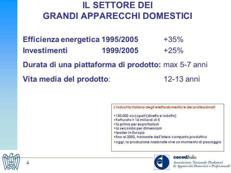 4 IL SETTORE DEI GRANDI APPARECCHI DOMESTICI Efficienza energetica 1995/2005 +35% Investimenti 1999/2005 +25% Durata di una piattaforma di prodotto: m