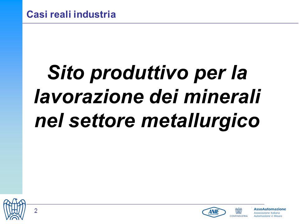 2 Sito produttivo per la lavorazione dei minerali nel settore metallurgico Casi reali industria