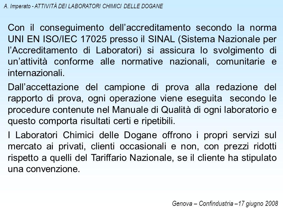 Con il conseguimento dellaccreditamento secondo la norma UNI EN ISO/IEC 17025 presso il SINAL (Sistema Nazionale per lAccreditamento di Laboratori) si