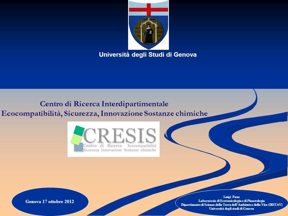 Università degli Studi di Genova Centro di Ricerca Interdipartimentale Ecocompatibilità, Sicurezza, Innovazione Sostanze chimiche Luigi Pane Laborator