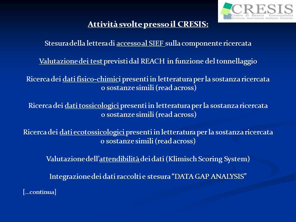 Attività svolte presso il CRESIS: Stesura della lettera di accesso al SIEF sulla componente ricercata Valutazione dei test previsti dal REACH in funzi
