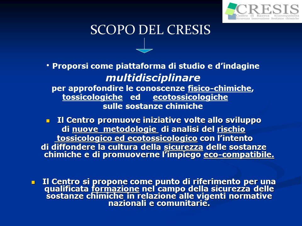 SCOPO DEL CRESIS Proporsi come piattaforma di studio e dindagine multidisciplinare per approfondire le conoscenze fisico-chimiche, tossicologiche ed e