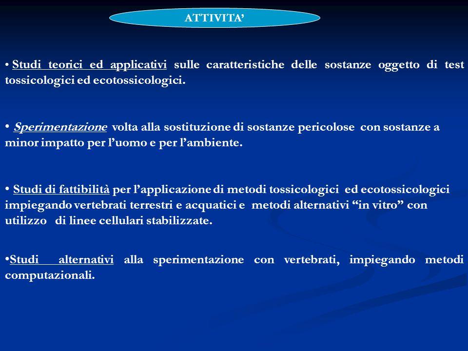 Studi teorici ed applicativi sulle caratteristiche delle sostanze oggetto di test tossicologici ed ecotossicologici. Sperimentazione volta alla sostit