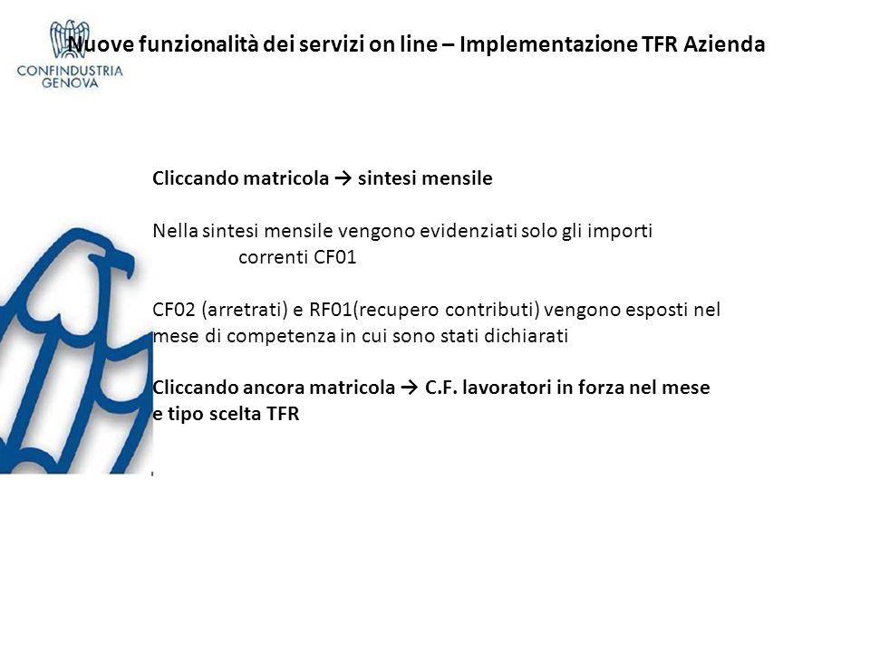 Nuove funzionalità dei servizi on line – Implementazione TFR Azienda Cliccando matricola sintesi mensile Nella sintesi mensile vengono evidenziati sol