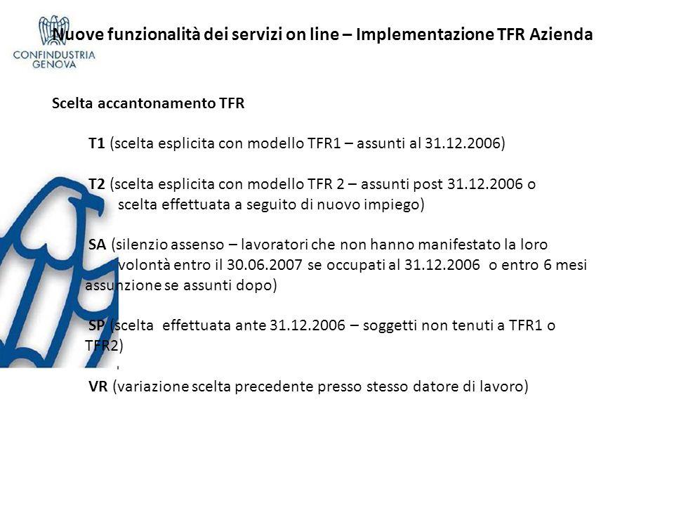 Nuove funzionalità dei servizi on line – Implementazione TFR Azienda Scelta accantonamento TFR T1 (scelta esplicita con modello TFR1 – assunti al 31.1