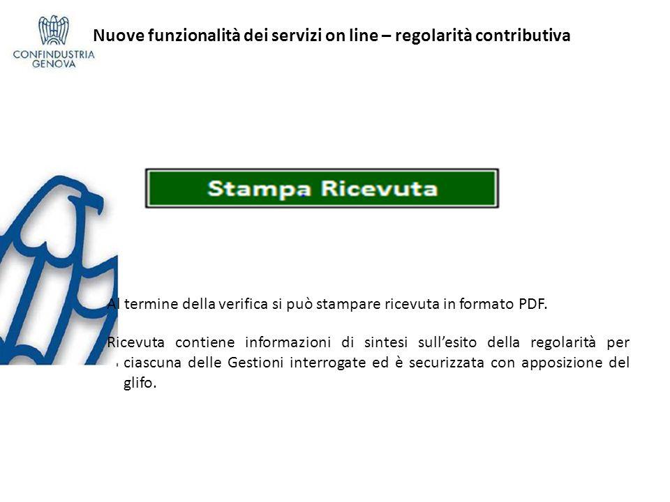 Al termine della verifica si può stampare ricevuta in formato PDF. Ricevuta contiene informazioni di sintesi sullesito della regolarità per ciascuna d