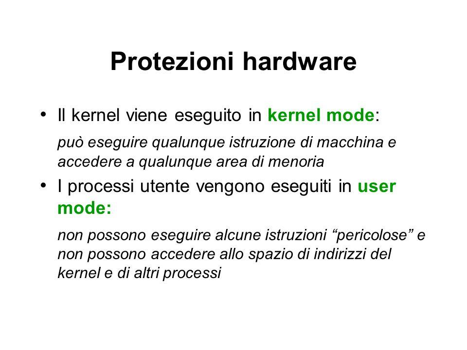Protezioni hardware Il kernel viene eseguito in kernel mode: può eseguire qualunque istruzione di macchina e accedere a qualunque area di menoria I pr