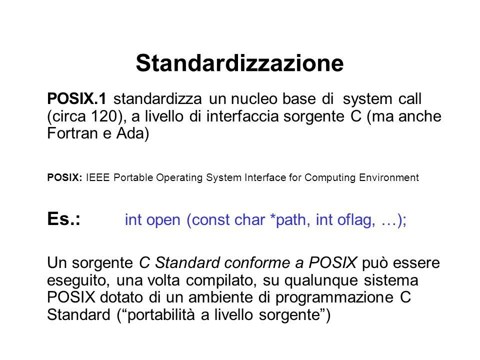 Standardizzazione POSIX.1 standardizza un nucleo base di system call (circa 120), a livello di interfaccia sorgente C (ma anche Fortran e Ada) POSIX: