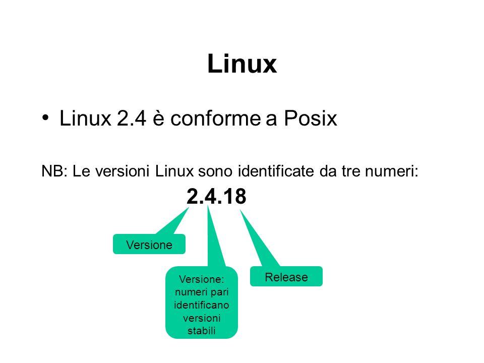 Linux Linux 2.4 è conforme a Posix NB: Le versioni Linux sono identificate da tre numeri: 2.4.18 Versione Versione: numeri pari identificano versioni