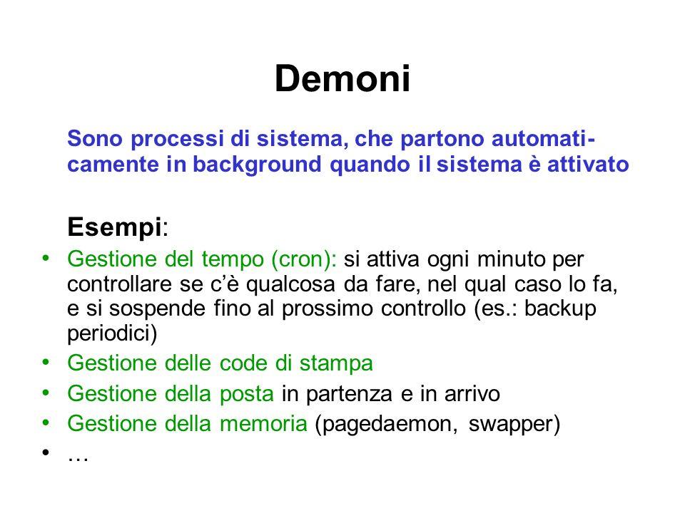 Demoni Sono processi di sistema, che partono automati- camente in background quando il sistema è attivato Esempi: Gestione del tempo (cron): si attiva