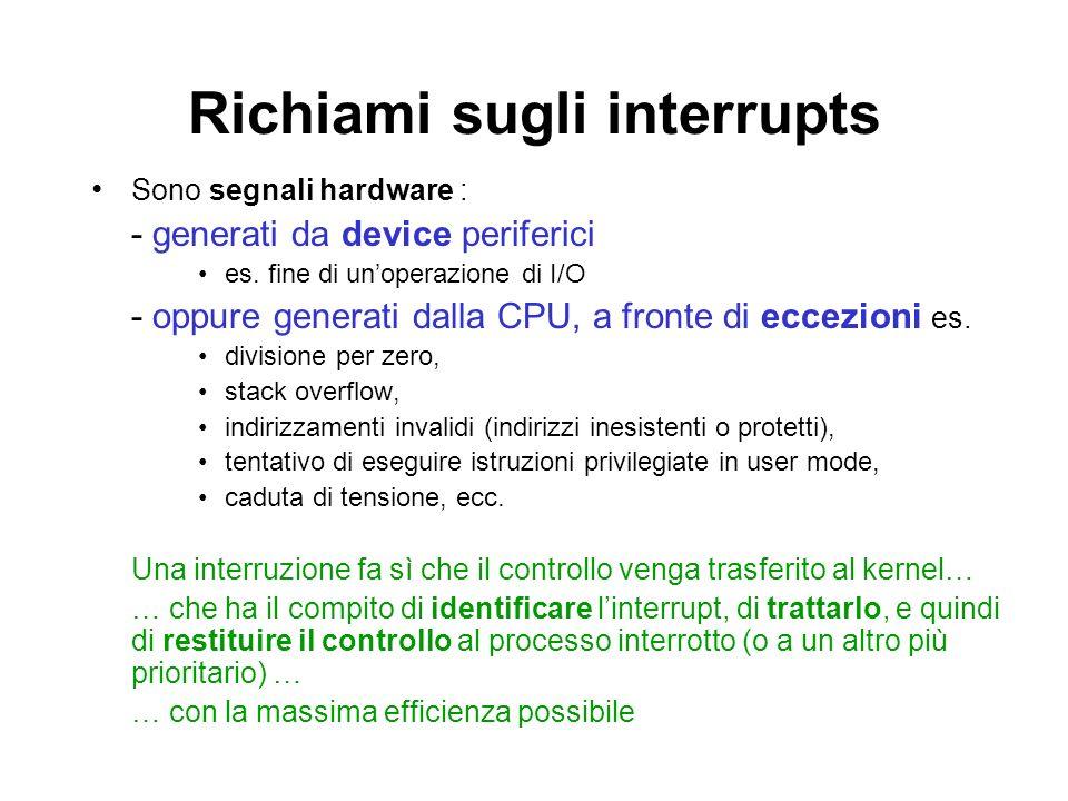 Richiami sugli interrupts Sono segnali hardware : - generati da device periferici es. fine di unoperazione di I/O - oppure generati dalla CPU, a front
