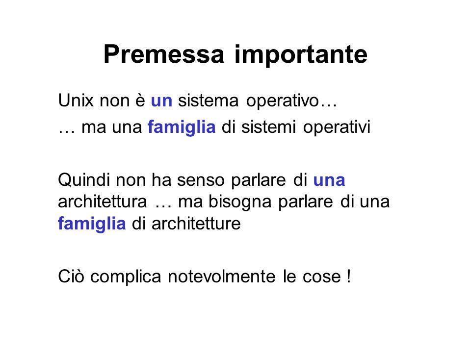 Premessa importante Unix non è un sistema operativo… … ma una famiglia di sistemi operativi Quindi non ha senso parlare di una architettura … ma bisog
