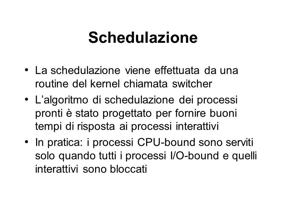 Schedulazione La schedulazione viene effettuata da una routine del kernel chiamata switcher Lalgoritmo di schedulazione dei processi pronti è stato pr