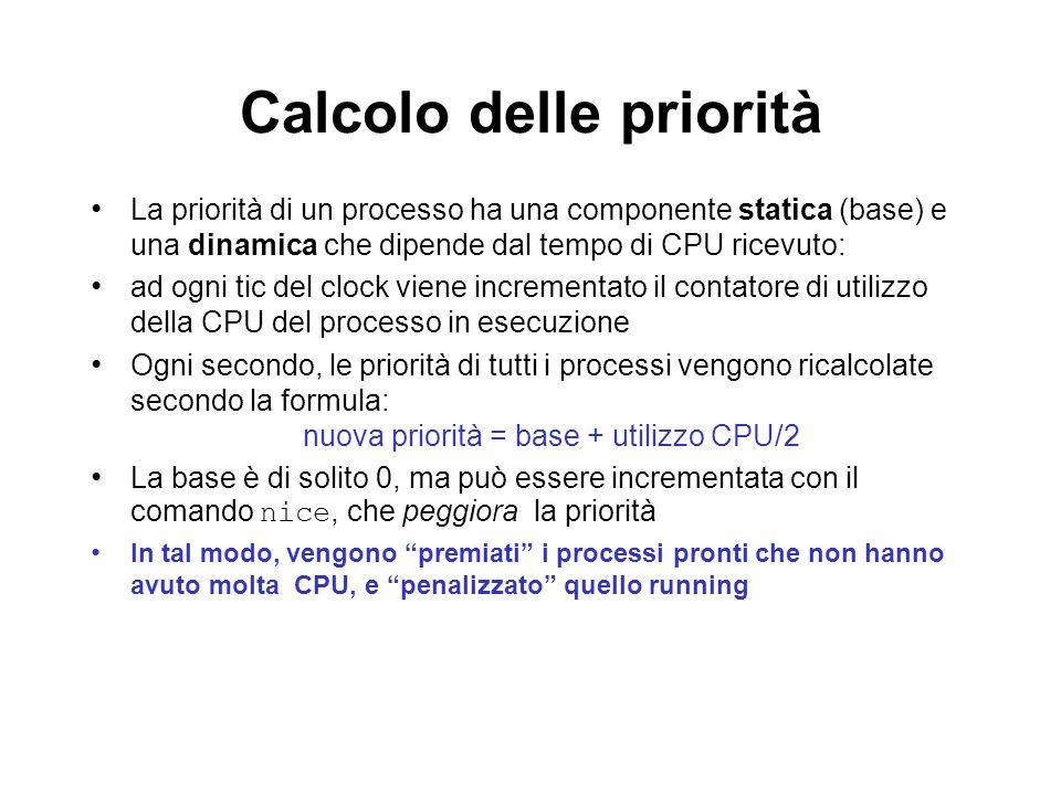 Calcolo delle priorità La priorità di un processo ha una componente statica (base) e una dinamica che dipende dal tempo di CPU ricevuto: ad ogni tic d