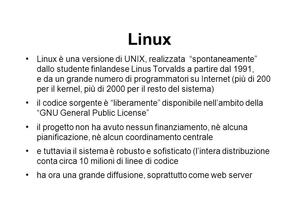 Linux Linux è una versione di UNIX, realizzata spontaneamente dallo studente finlandese Linus Torvalds a partire dal 1991, e da un grande numero di pr