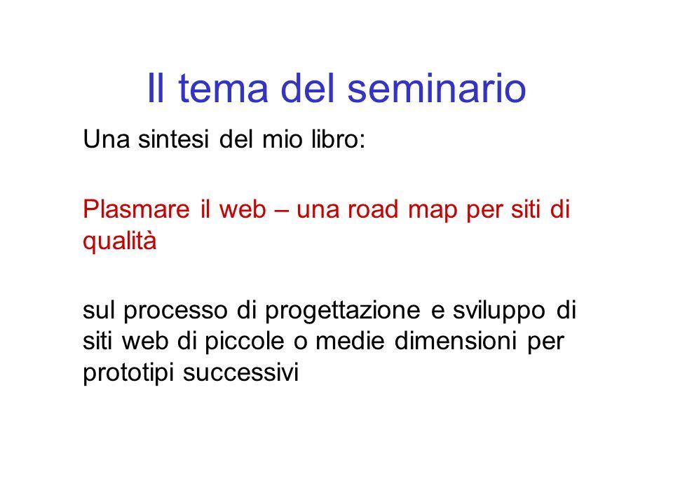 Il tema del seminario Una sintesi del mio libro: Plasmare il web – una road map per siti di qualità sul processo di progettazione e sviluppo di siti web di piccole o medie dimensioni per prototipi successivi