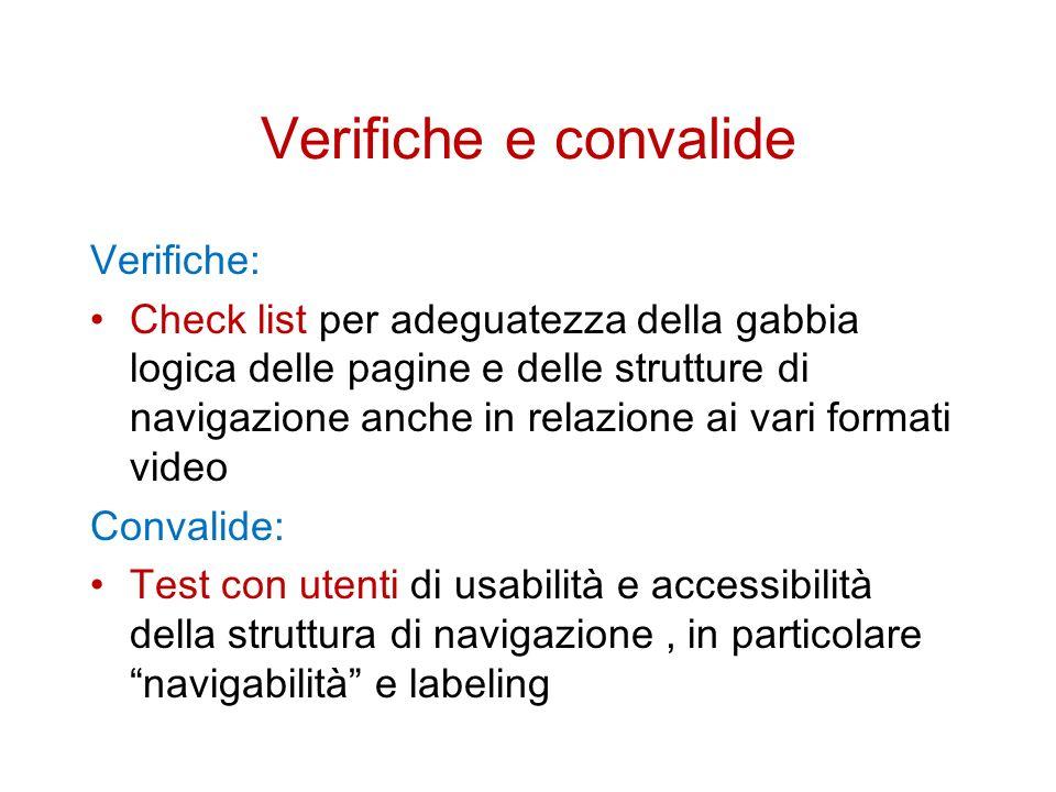 Verifiche e convalide Verifiche: Check list per adeguatezza della gabbia logica delle pagine e delle strutture di navigazione anche in relazione ai vari formati video Convalide: Test con utenti di usabilità e accessibilità della struttura di navigazione, in particolare navigabilità e labeling