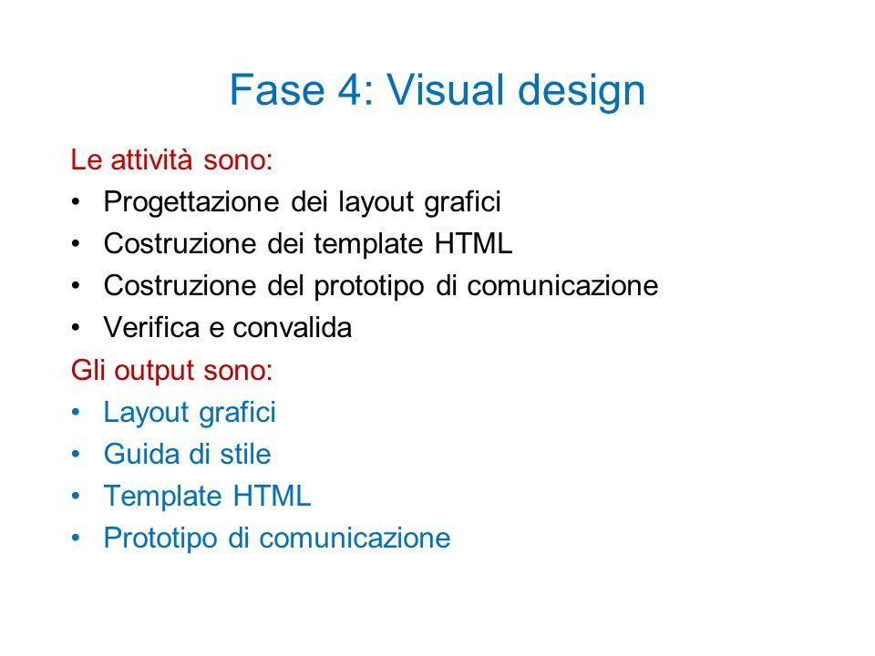 Fase 4: Visual design Le attività sono: Progettazione dei layout grafici Costruzione dei template HTML Costruzione del prototipo di comunicazione Verifica e convalida Gli output sono: Layout grafici Guida di stile Template HTML Prototipo di comunicazione