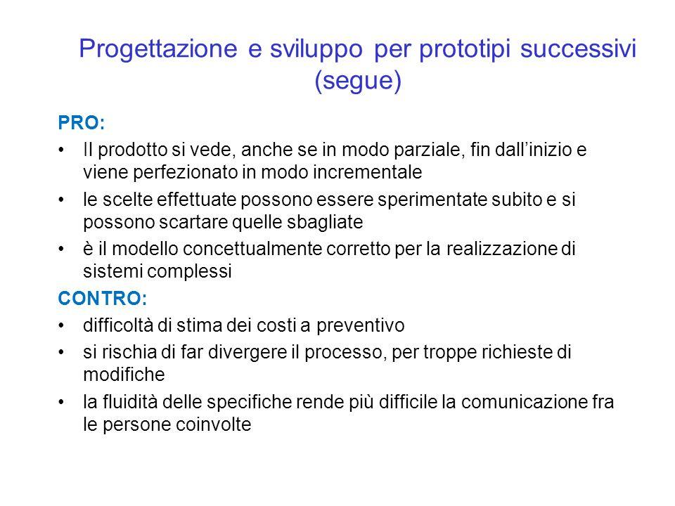 Progettazione e sviluppo per prototipi successivi (segue) PRO: Il prodotto si vede, anche se in modo parziale, fin dallinizio e viene perfezionato in