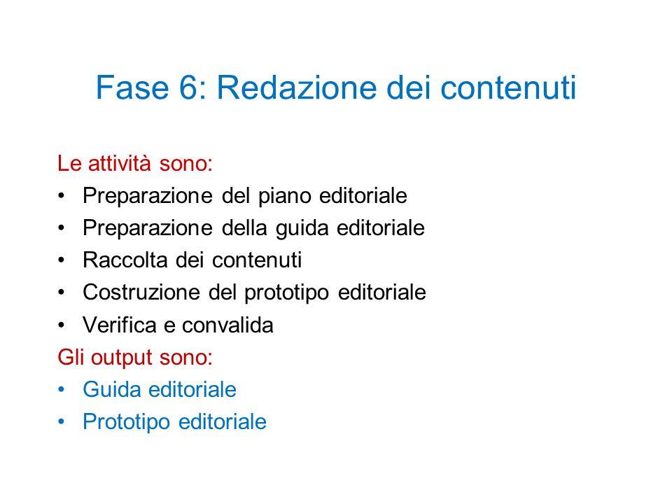 Fase 6: Redazione dei contenuti Le attività sono: Preparazione del piano editoriale Preparazione della guida editoriale Raccolta dei contenuti Costruz