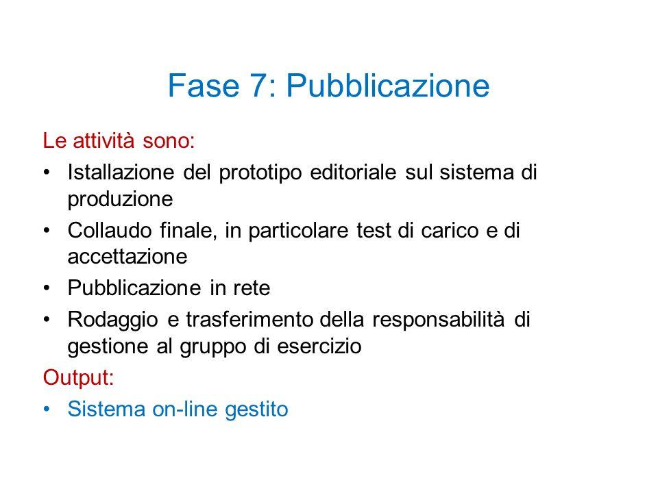 Fase 7: Pubblicazione Le attività sono: Istallazione del prototipo editoriale sul sistema di produzione Collaudo finale, in particolare test di carico