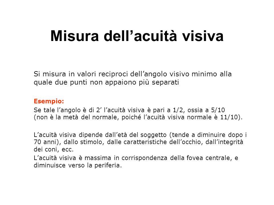Misura dellacuità visiva Si misura in valori reciproci dellangolo visivo minimo alla quale due punti non appaiono più separati Esempio: Se tale langol