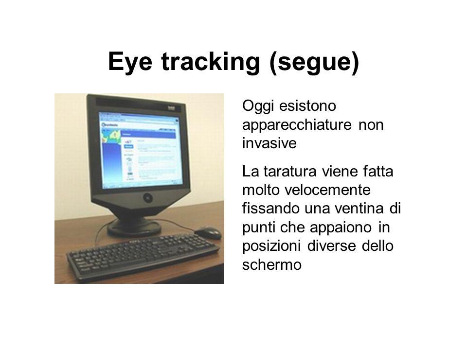 Eye tracking (segue) Oggi esistono apparecchiature non invasive La taratura viene fatta molto velocemente fissando una ventina di punti che appaiono i
