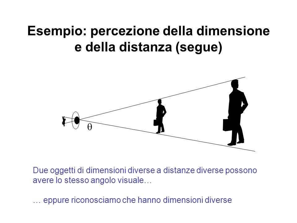 Esempio: percezione della dimensione e della distanza (segue) Due oggetti di dimensioni diverse a distanze diverse possono avere lo stesso angolo visu