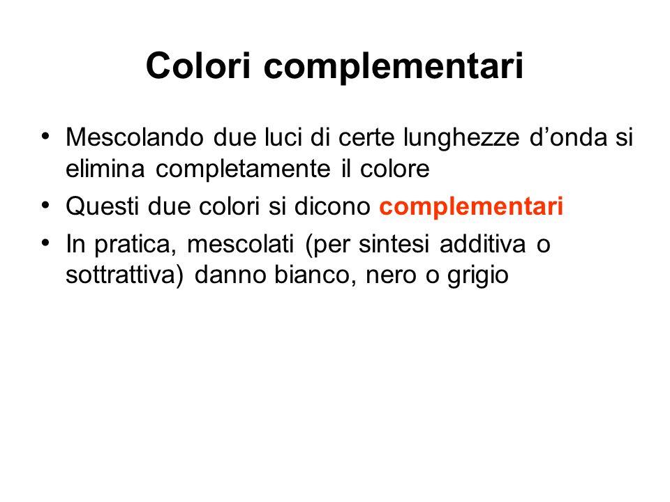 Colori complementari Mescolando due luci di certe lunghezze donda si elimina completamente il colore Questi due colori si dicono complementari In prat