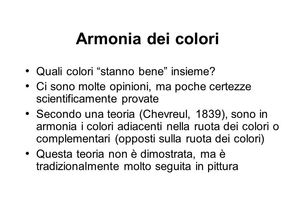 Quali colori stanno bene insieme? Ci sono molte opinioni, ma poche certezze scientificamente provate Secondo una teoria (Chevreul, 1839), sono in armo